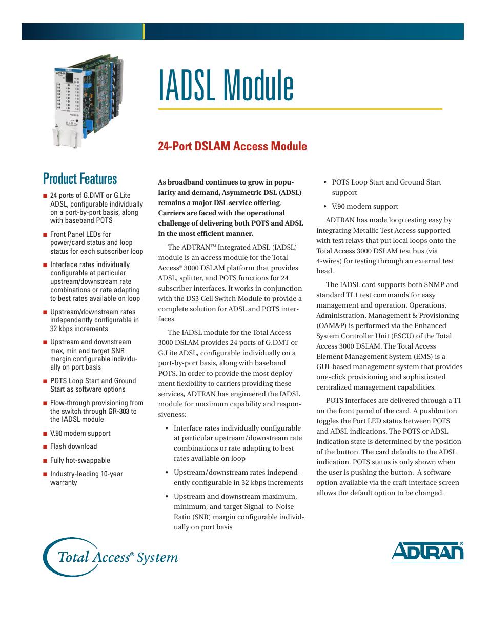 ADTRAN 24-Port DSLAM Access Module IADSL Module User Manual
