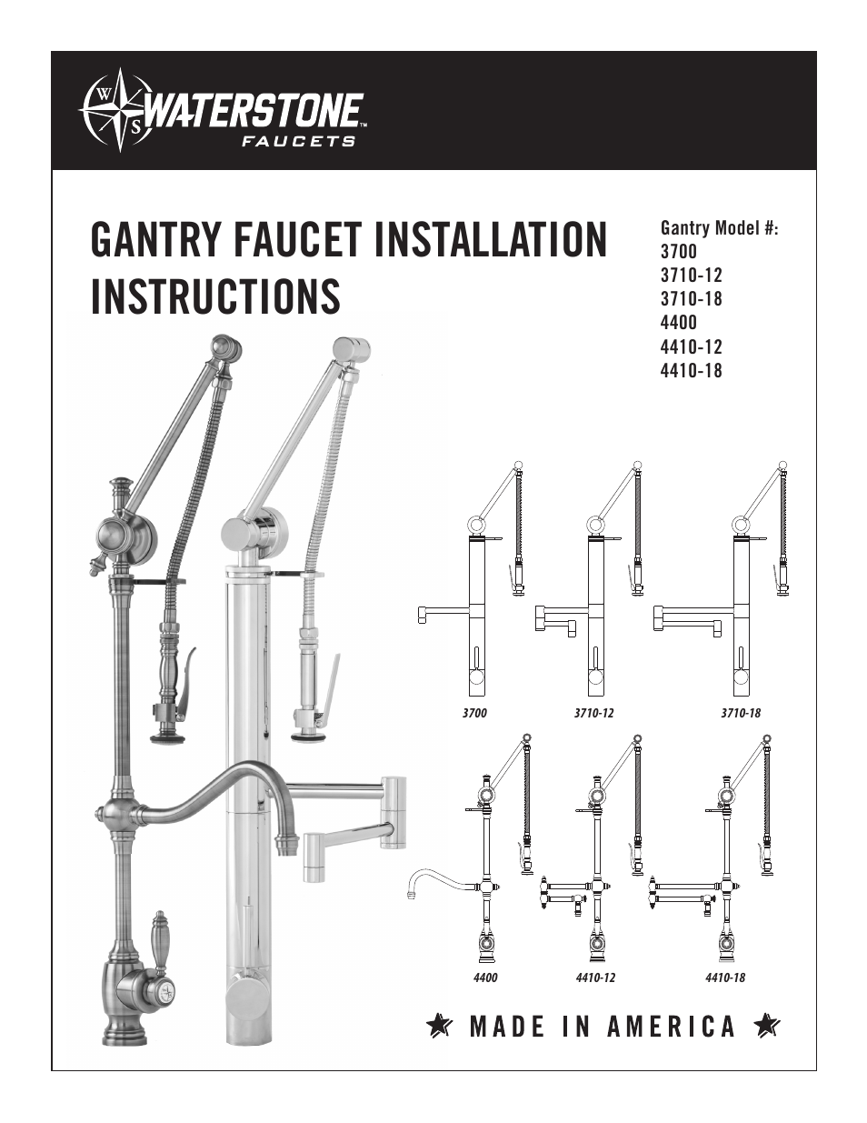 Waterstone GANTRY FAUCET 4410-18 User Manual | 6 pages | Also for ...