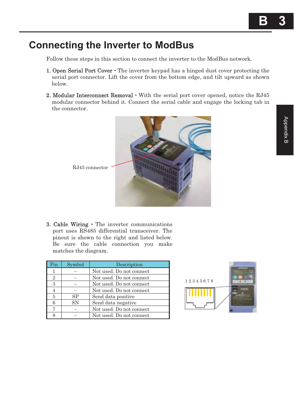 Connecting The Inverter To Modbus B 3 Xlt Hitachi X200 User Rj45 Serial Wiring Diagram Manual Page 246 305