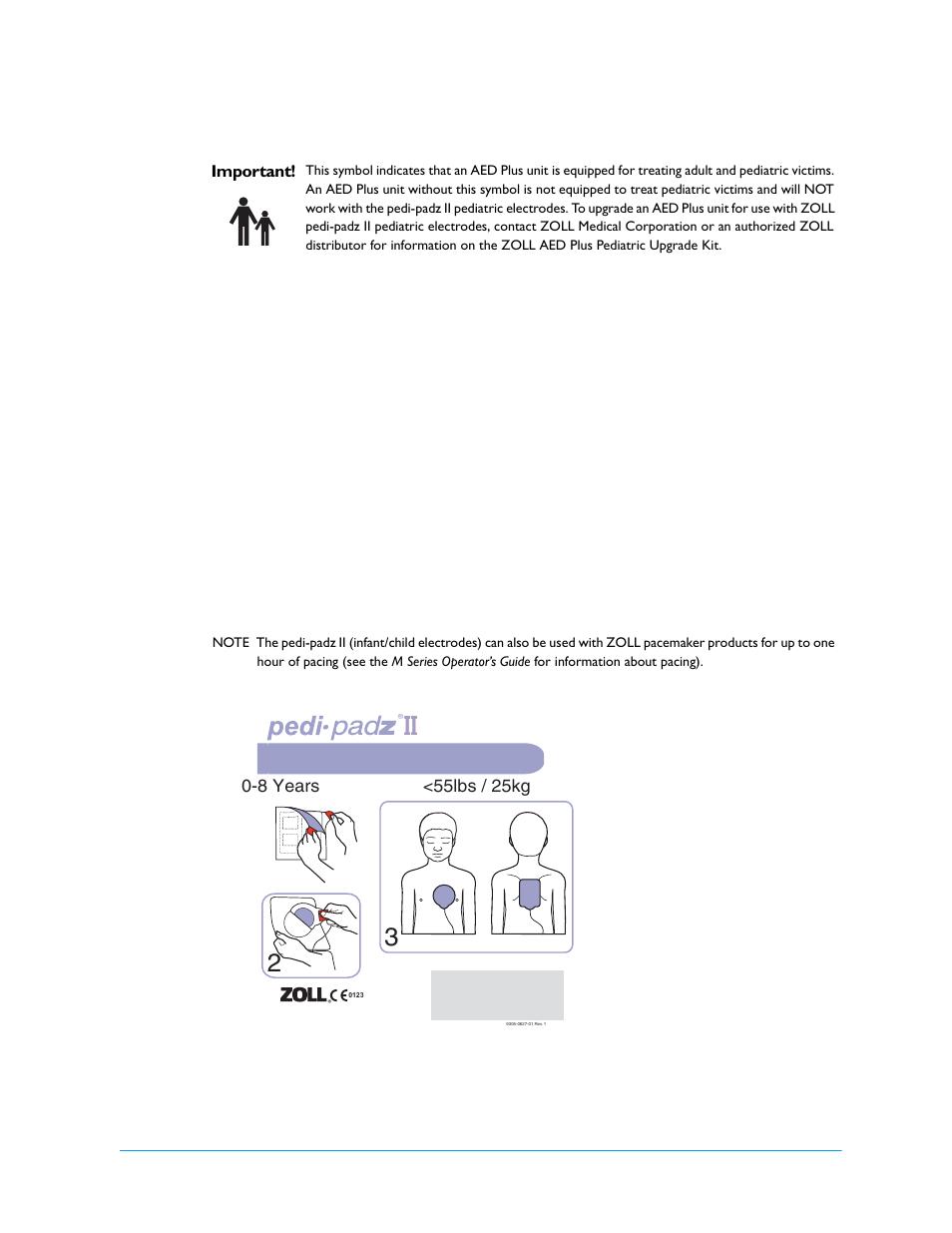 Applying pedi •pad z ii (infant/child electrodes), Infant