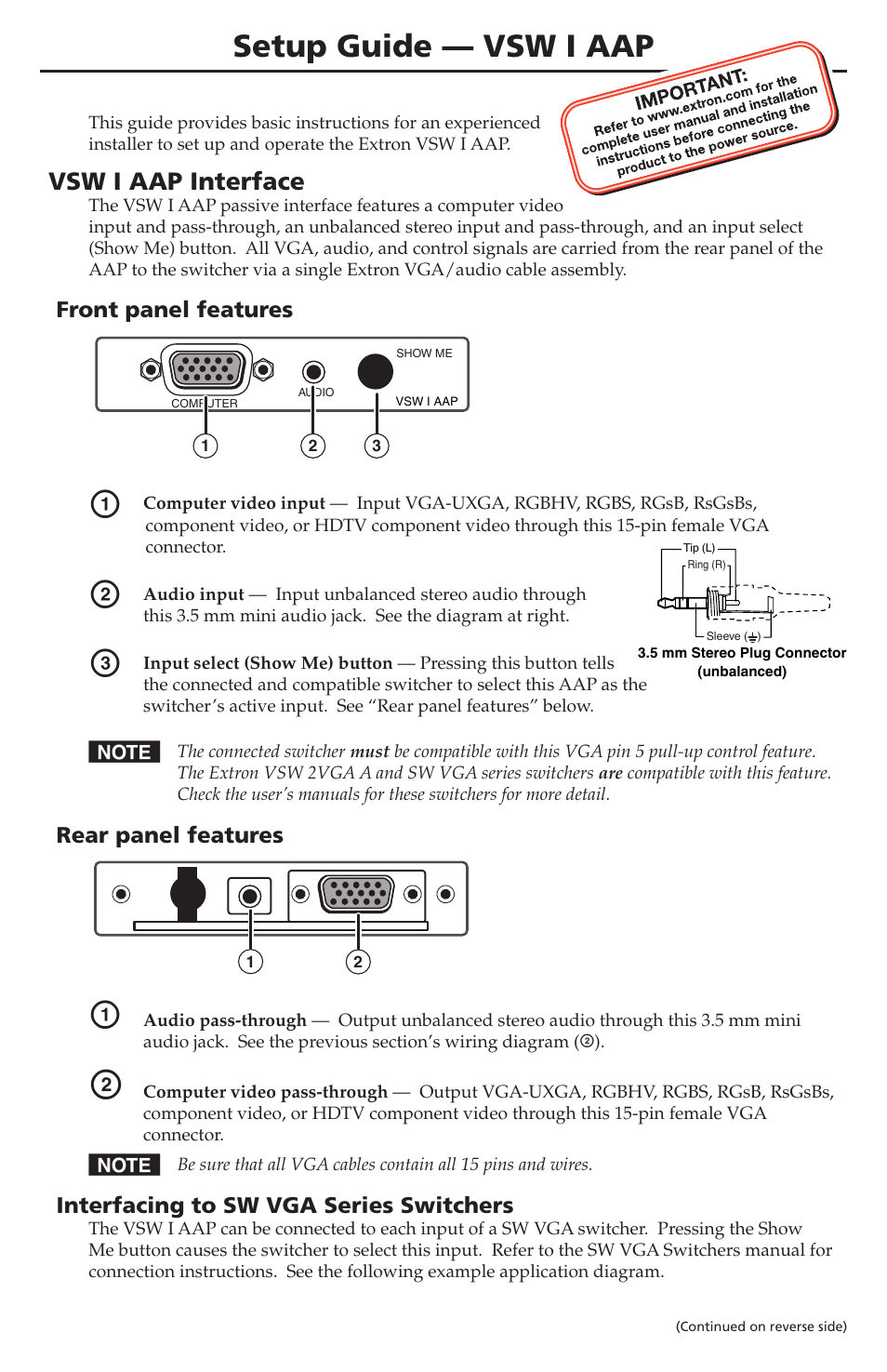 Extron Electronics Vsw I Aap Setup Guide User Manual 2 Pages Hdtv Wiring Diagram