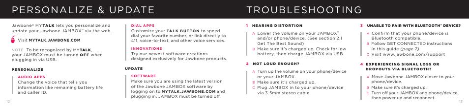 Personalize Update Troubleshooting Jawbone Jambox User Manual