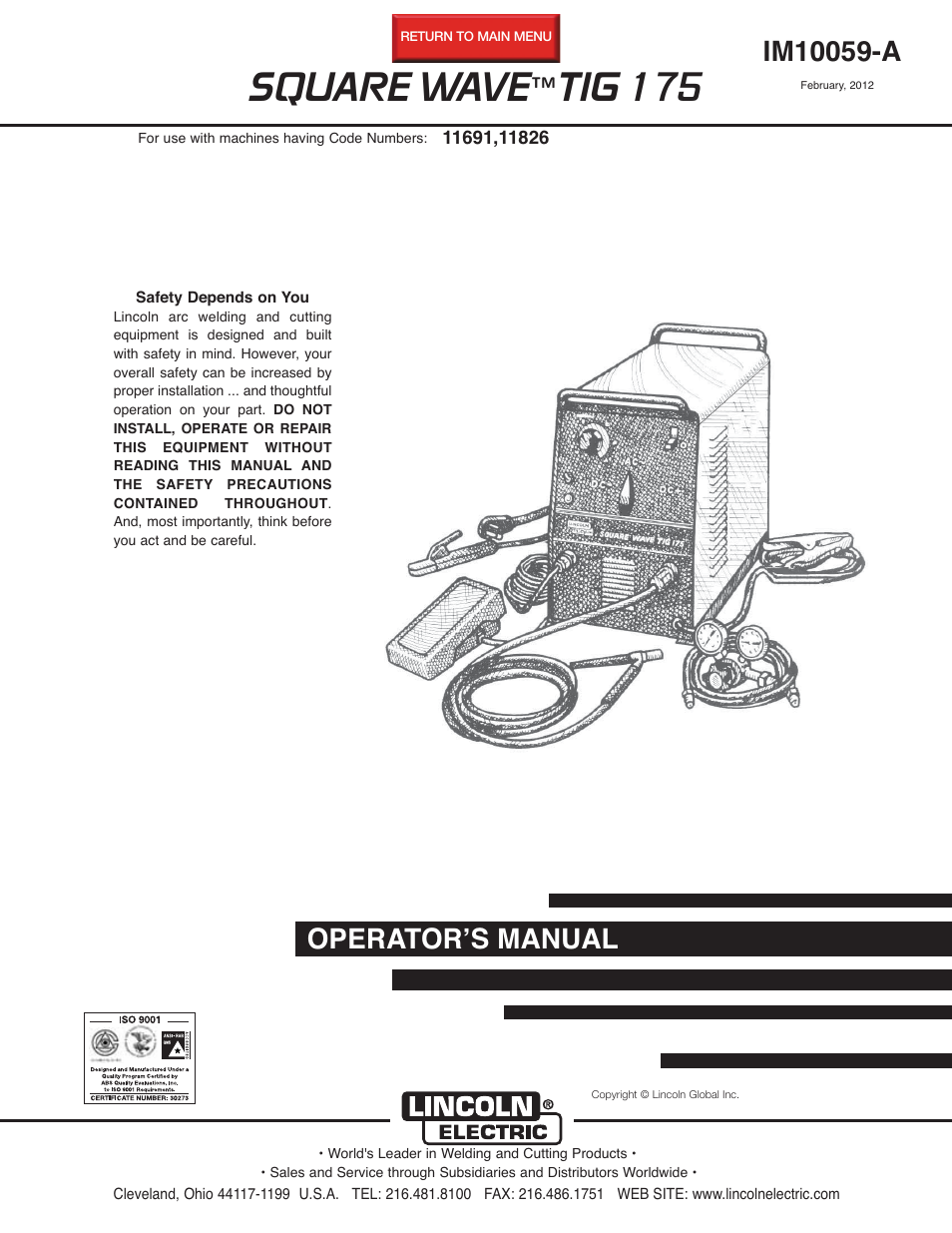 Lincoln Electric Im10059 Square Wave Tig 175 User Manual