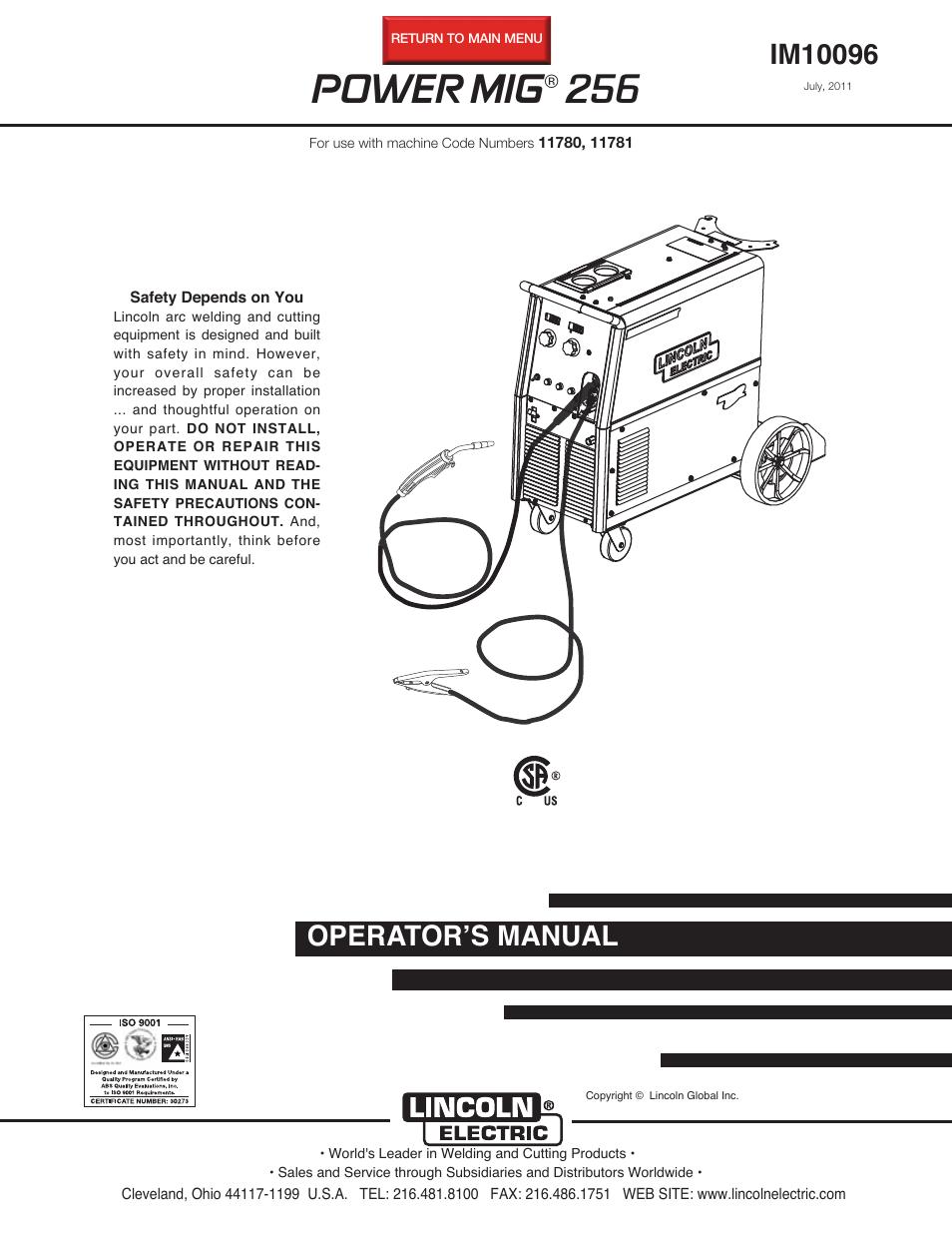 lincoln electric im10096 power mig 256 page1 install mig welder wiring www toyskids co \u2022