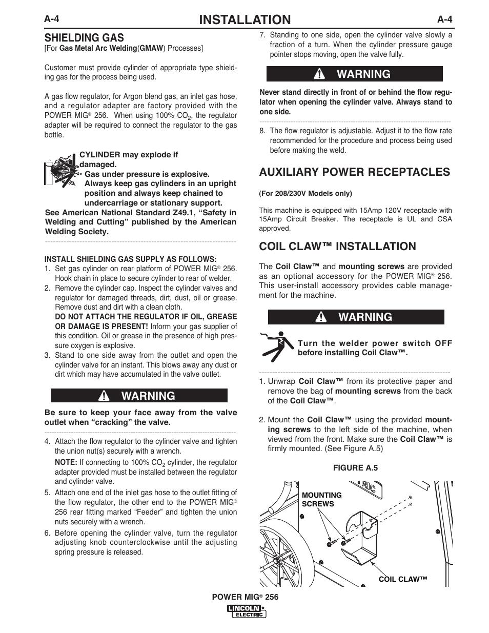 Installation, Shielding gas, Warning | Lincoln Electric IM10096 ...