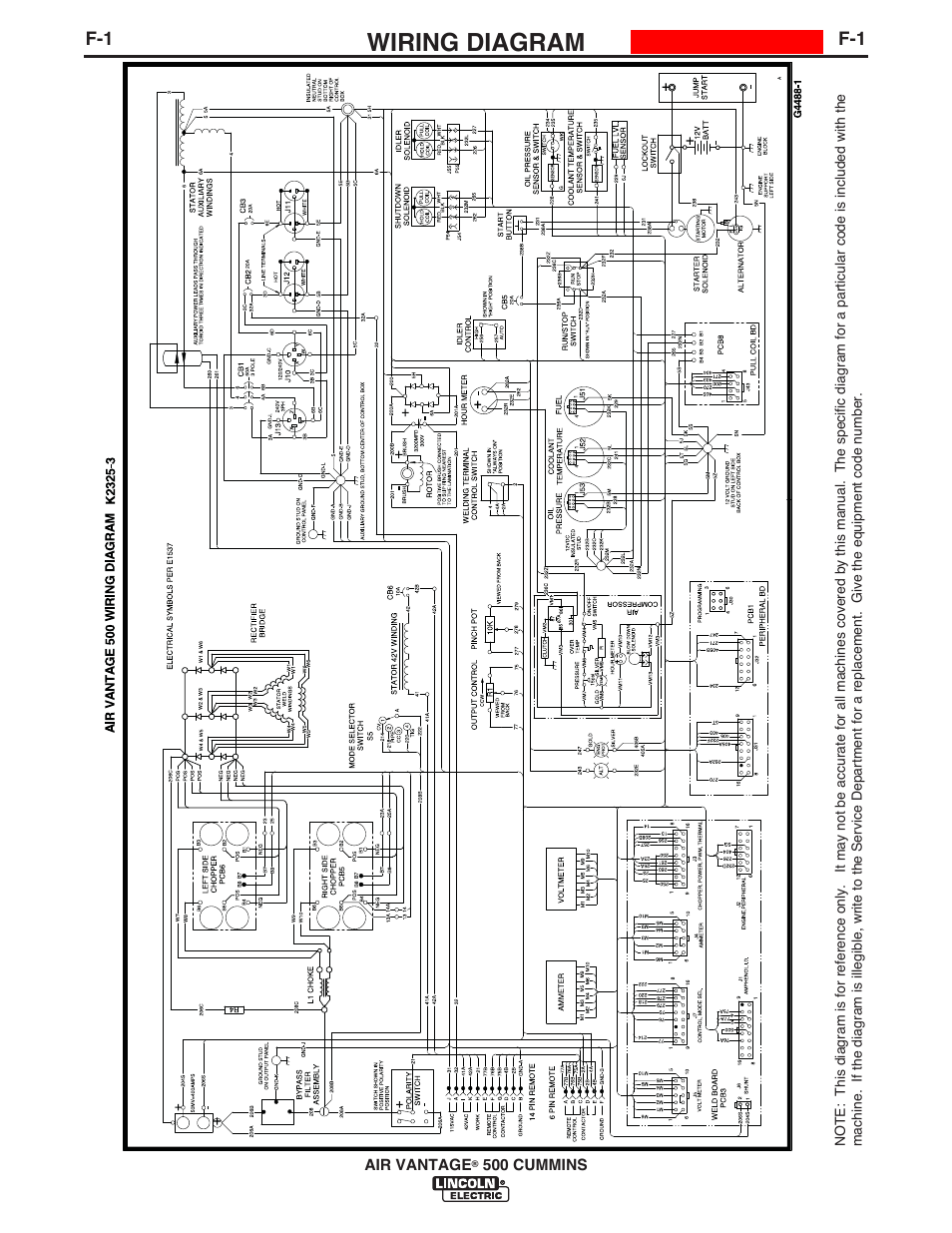 Wiring diagram | Lincoln Electric IM10065 AIR VANTAGE 500 CUMMINS User  Manual | Page 39 / 54