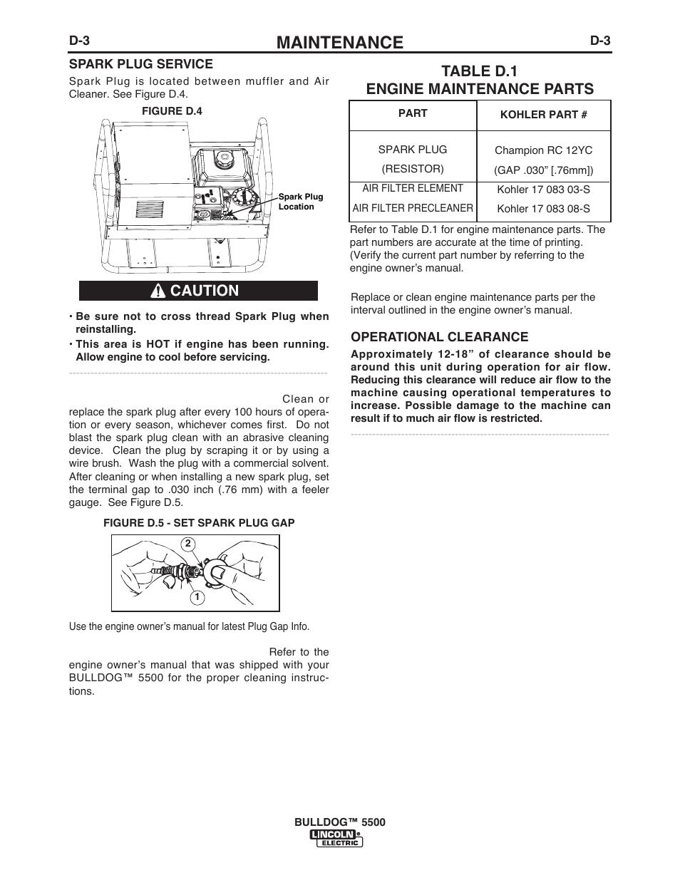 Maintenance, Table d 1 engine maintenance parts, Caution | Lincoln