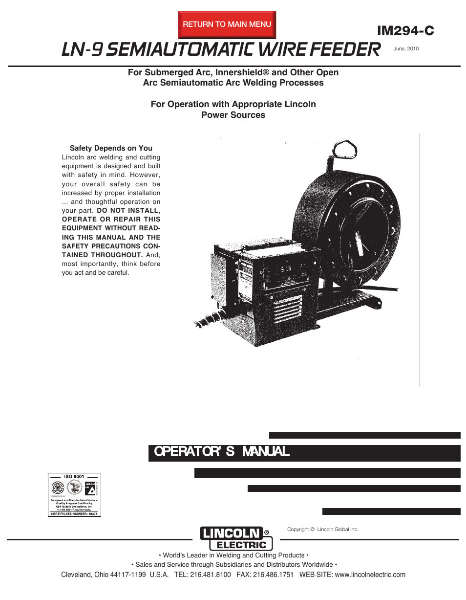 Lincoln Electric Im294 Ln 9 Semiautomatic Wire Feeder User Manual Arc Welder Wiring Diagram 148 Pages