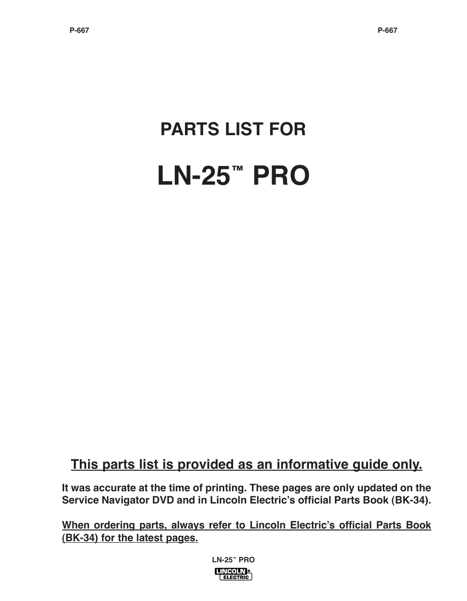 Ln-25, Parts list for | Lincoln Electric IM10076 LN-25 PRO User Manual |  Page 41 / 64
