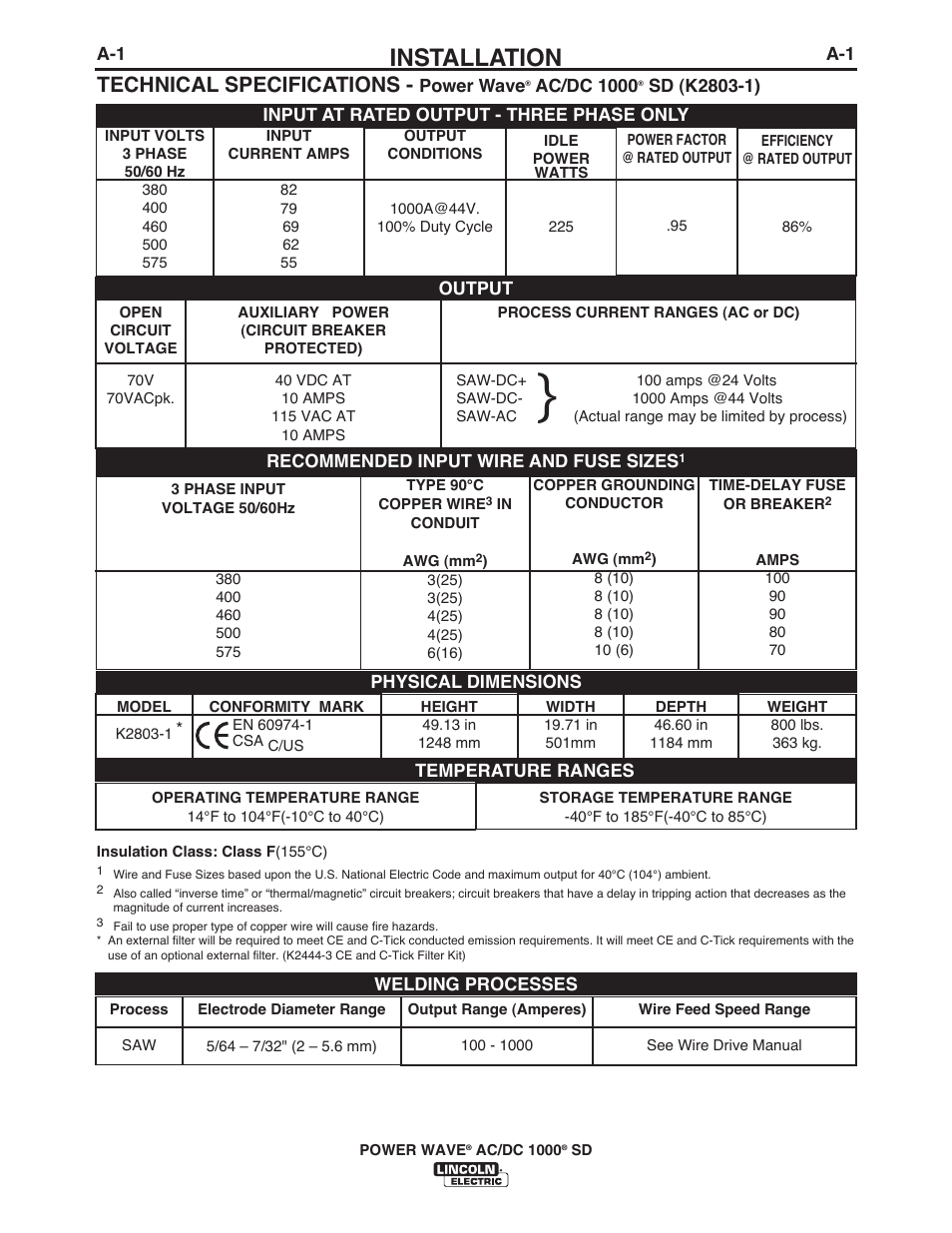 Installation, Technical specifications | Lincoln Electric IM10022 ...