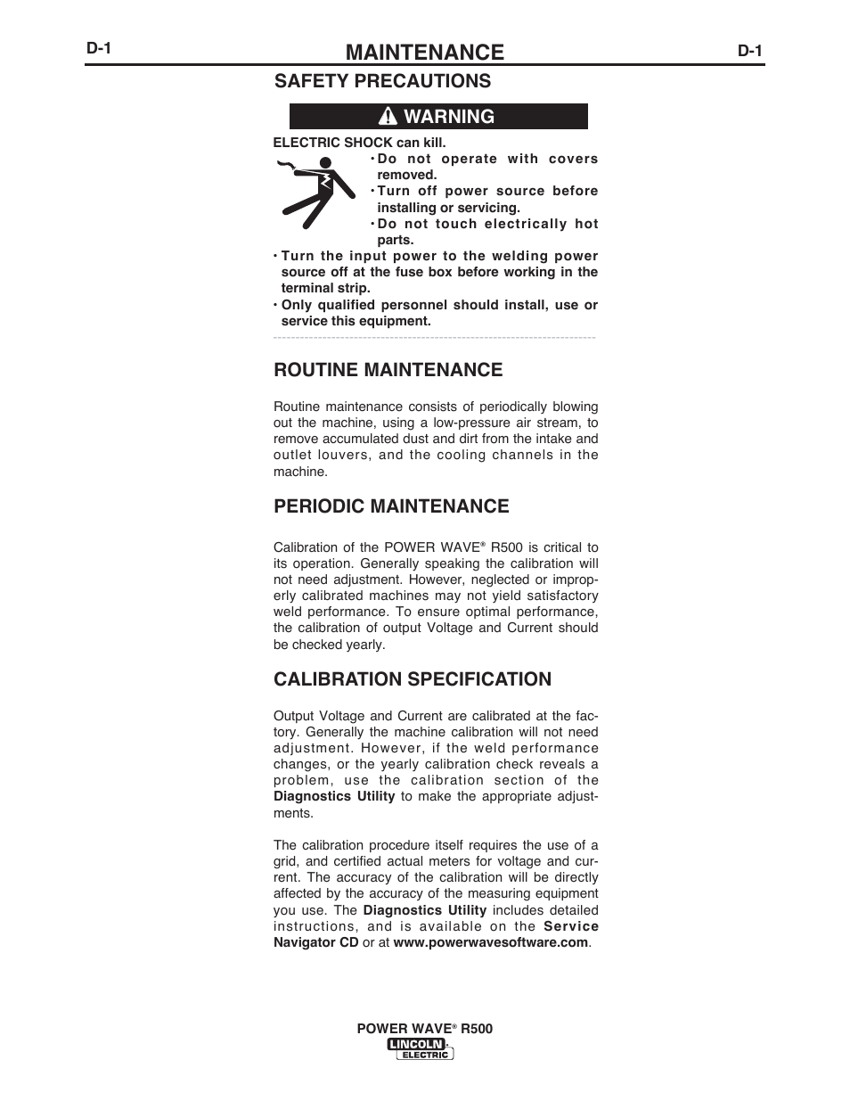 Maintenance, Safety precautions warning, Routine maintenance | Lincoln  Electric IM10133 POWER WAVE R500 User Manual | Page 26 / 56