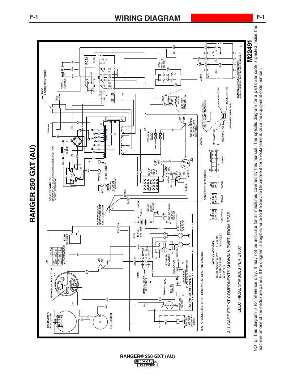 Wiring Diagram Lincoln Electric Im10052 Ranger 250 Gxt Au User Moto G Circuit Manual Page 28 56