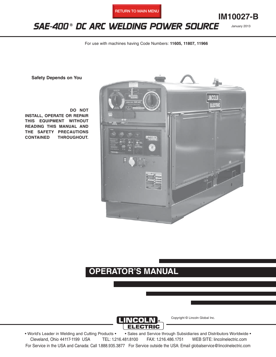 lincoln electric im10027 sae400 user manual 38 pages rh manualsdir com Lincoln SAE 400 Parts Lincoln SAE- 300