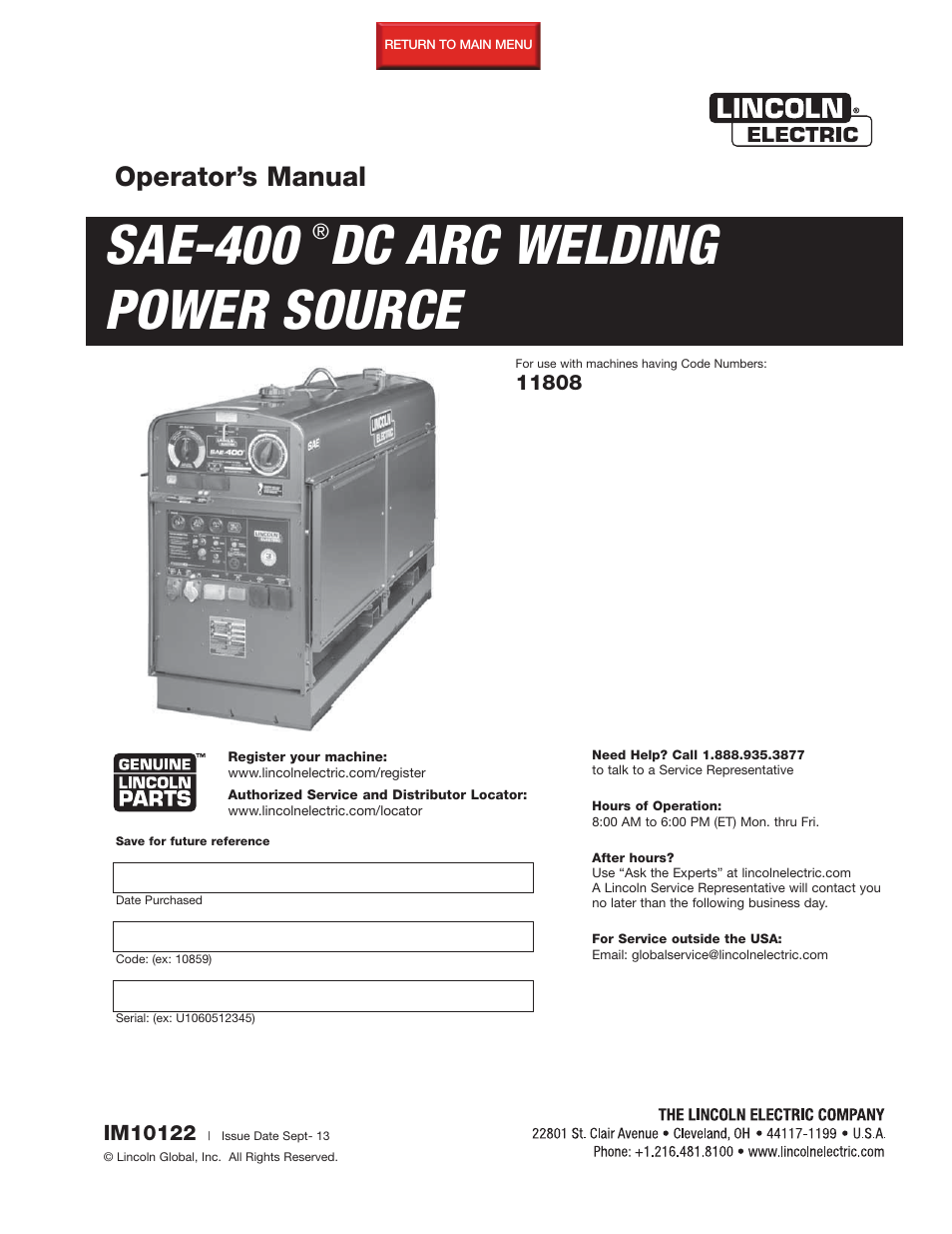 lincoln electric im10122 sae400 user manual 60 pages rh manualsdir com Diesel Lincoln Welder SAE-400 Diesel Lincoln Welder SAE-400