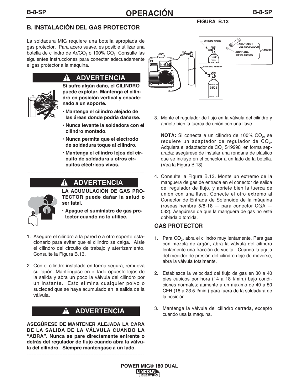 Operacion Advertencia B 8 Sp Lincoln Electric Imt10106 Power Mig 180 Dual User Manual Page 46 92
