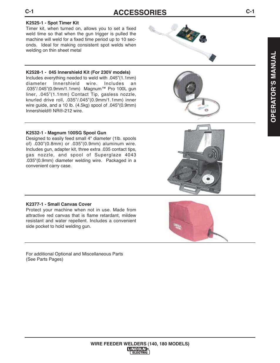 Accessories Lincoln Electric Imt10100 Wire Feeder Welder 140 180 Welding Gun Diagram User Manual Page 21 96