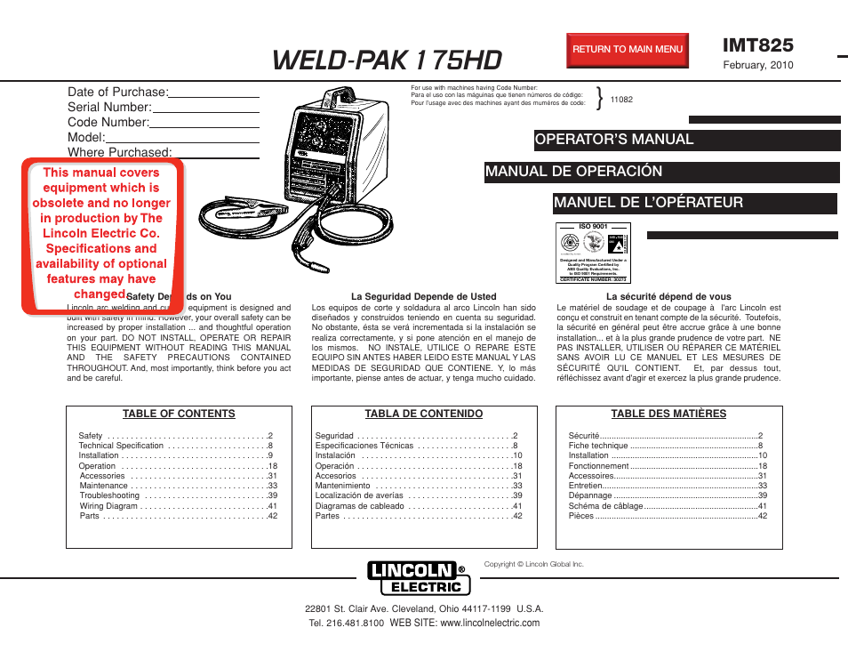 lincoln electric imt825 weld pak 175 hd user manual 48 pages rh manualsdir com lincoln electric welder manual lincoln electric manuals download