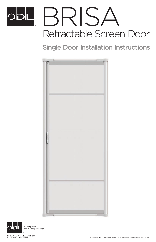 Odl Brisa Retractable Screen Doors Single Doors User Manual 20 Pages
