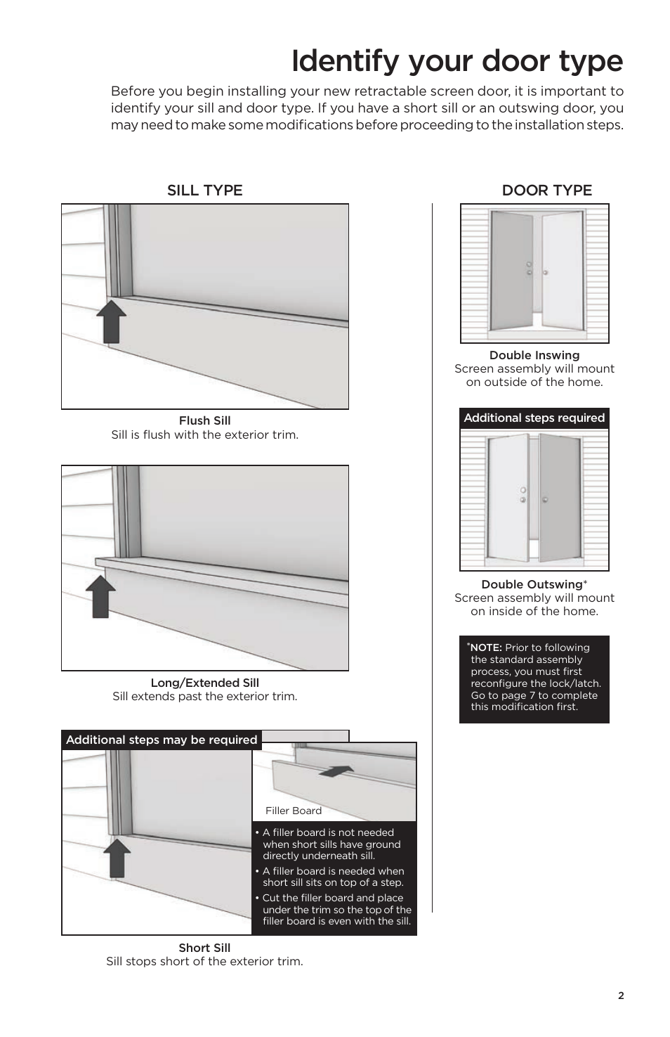 Odl Retractable Screen Door identify your door type, sill type door type | odl brisa