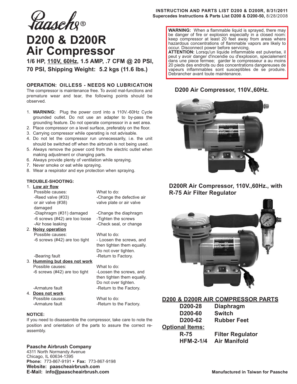 Paasche Airbrush D200R User Manual | 1 page | Also for: D200