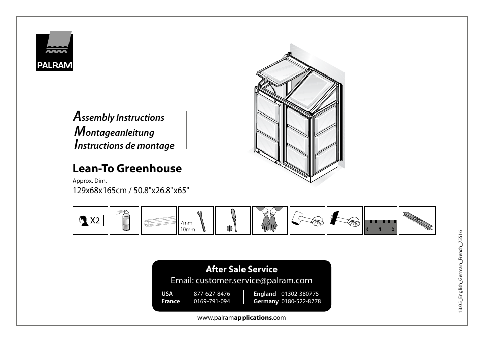 Palram Applications Lean-To Greenhouse User Manual | 16 pages