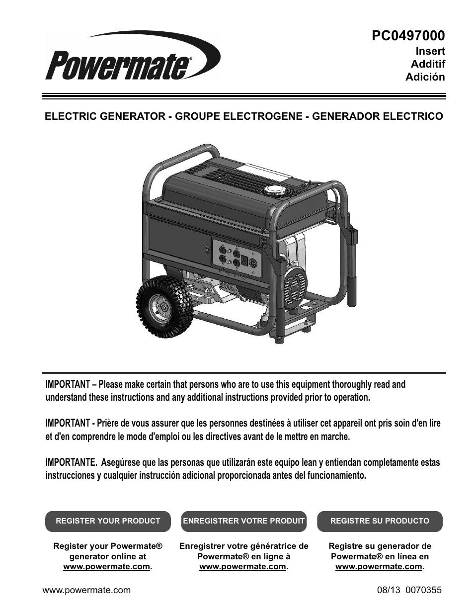 Powermate PC0497000 User Manual | 12 pages