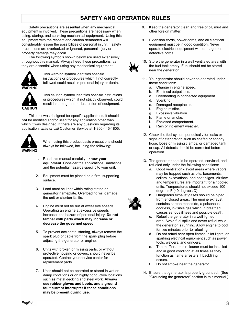 Safety and operation rules | Powermate PM0558023.01 User Manual | Page 3 /  42