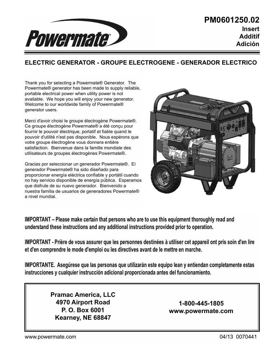 Powermate PM0601250 02 User Manual | 20 pages