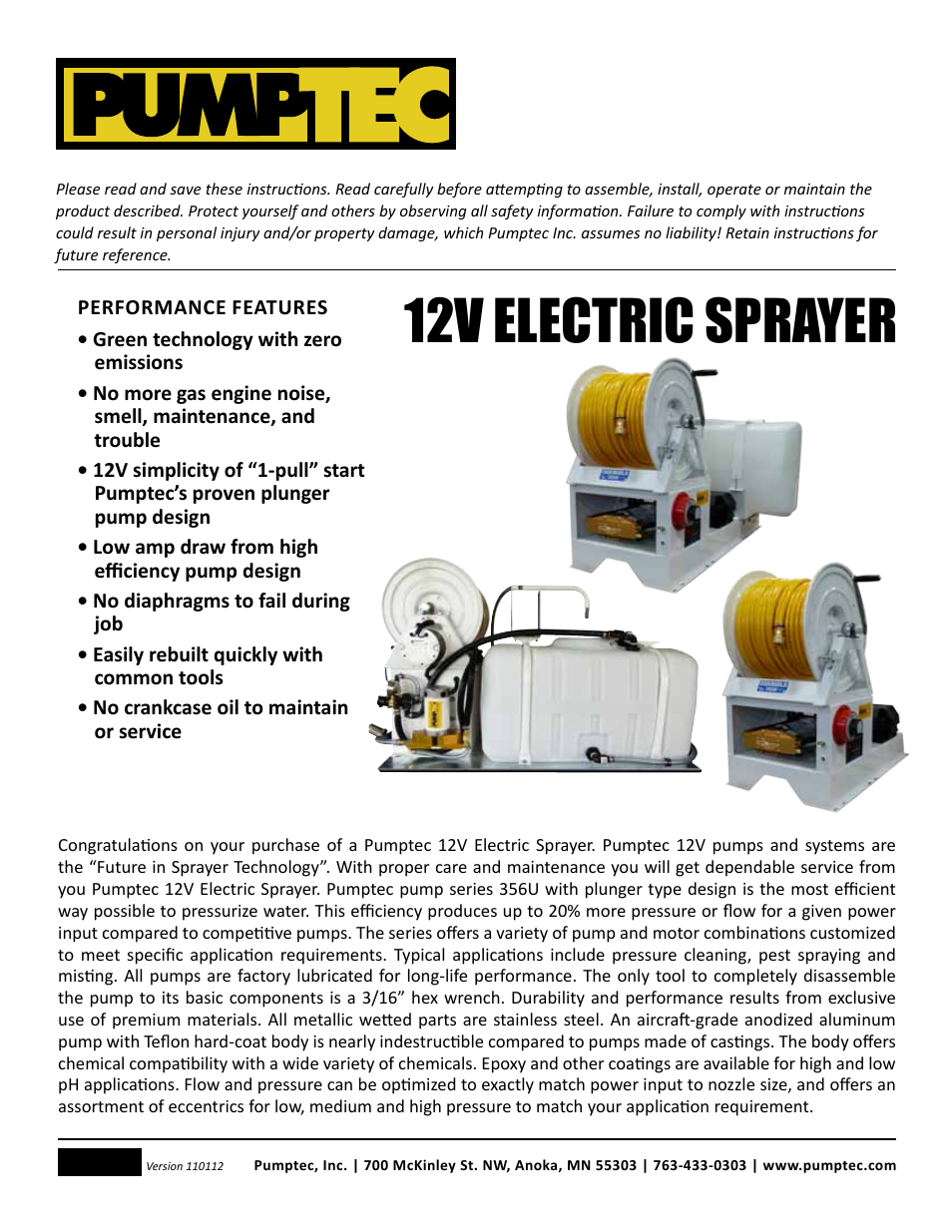 Pumptec ELECTRIC SPRAYER 12V User Manual   23 pages