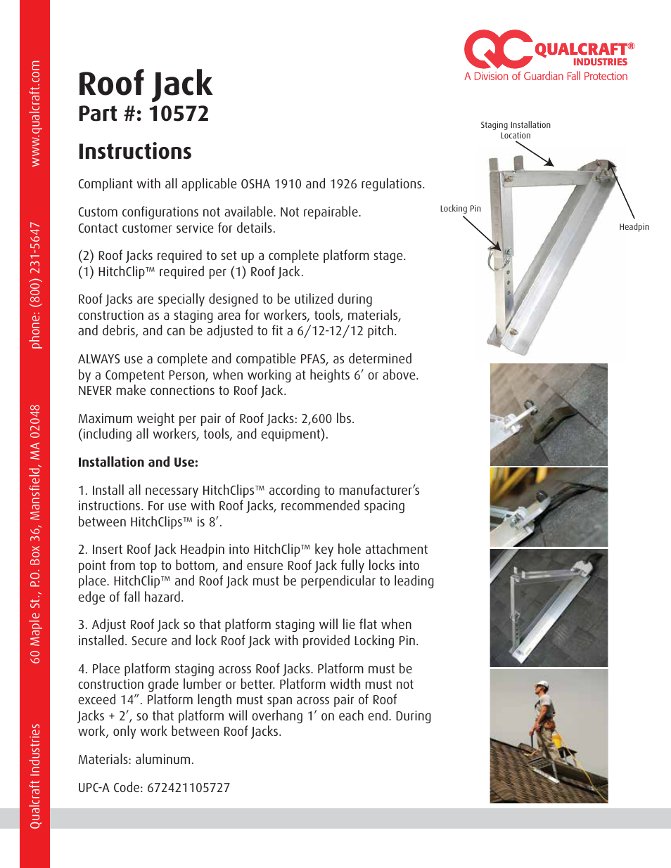 Qualcraft Hitchclip Roof Jack User Manual 1 Page