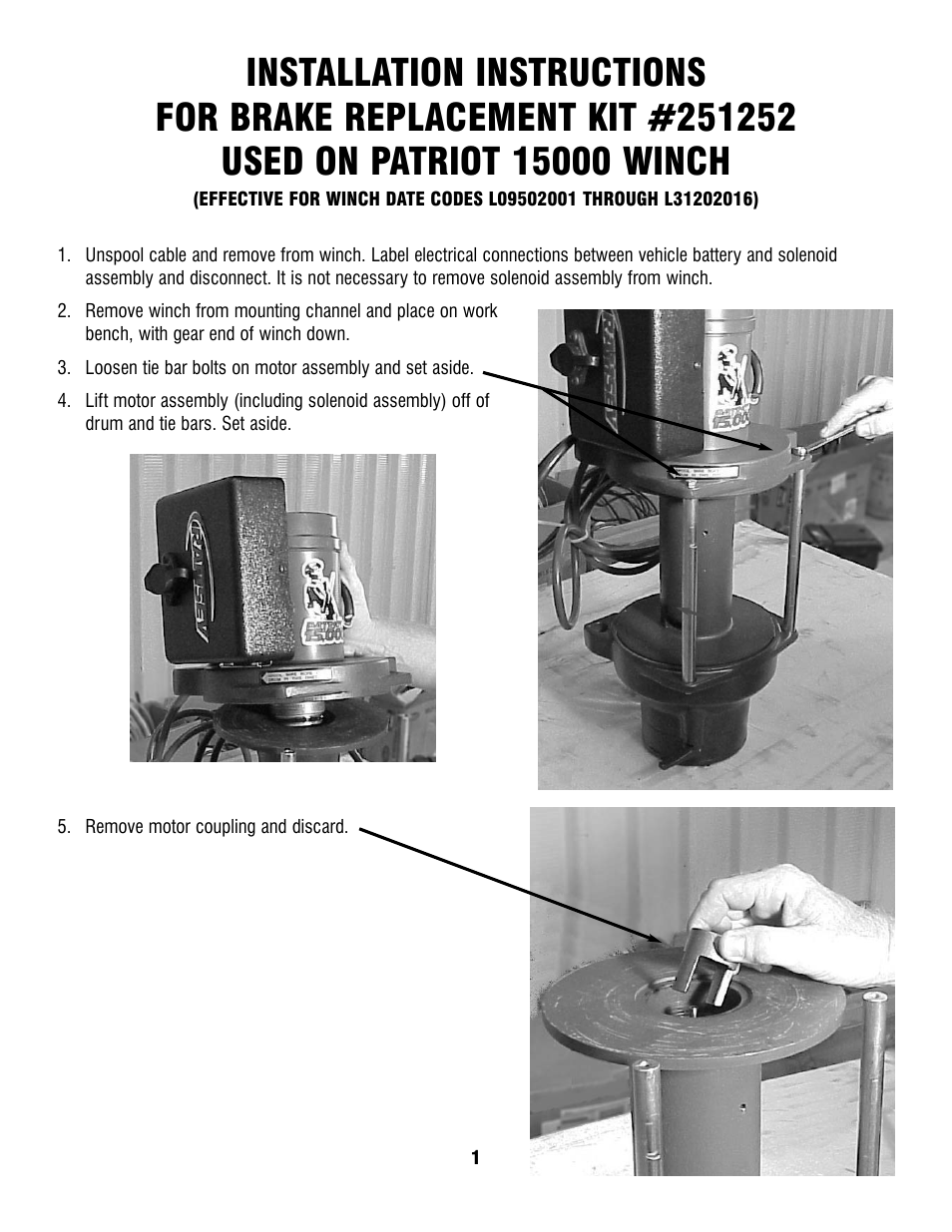 Ramsey Winch Patriot 15000 Brake Replacement Kit 251252 User Manual 4 Solenoid Wiring Diagram 5 Pages