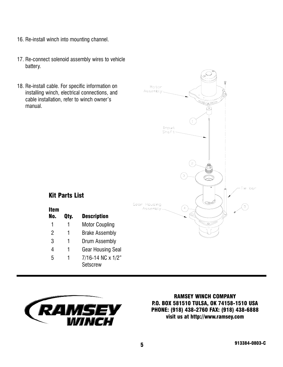 Ramsey Winch PATRIOT 15000 KE REPLACEMENT KIT 251252 User ... on