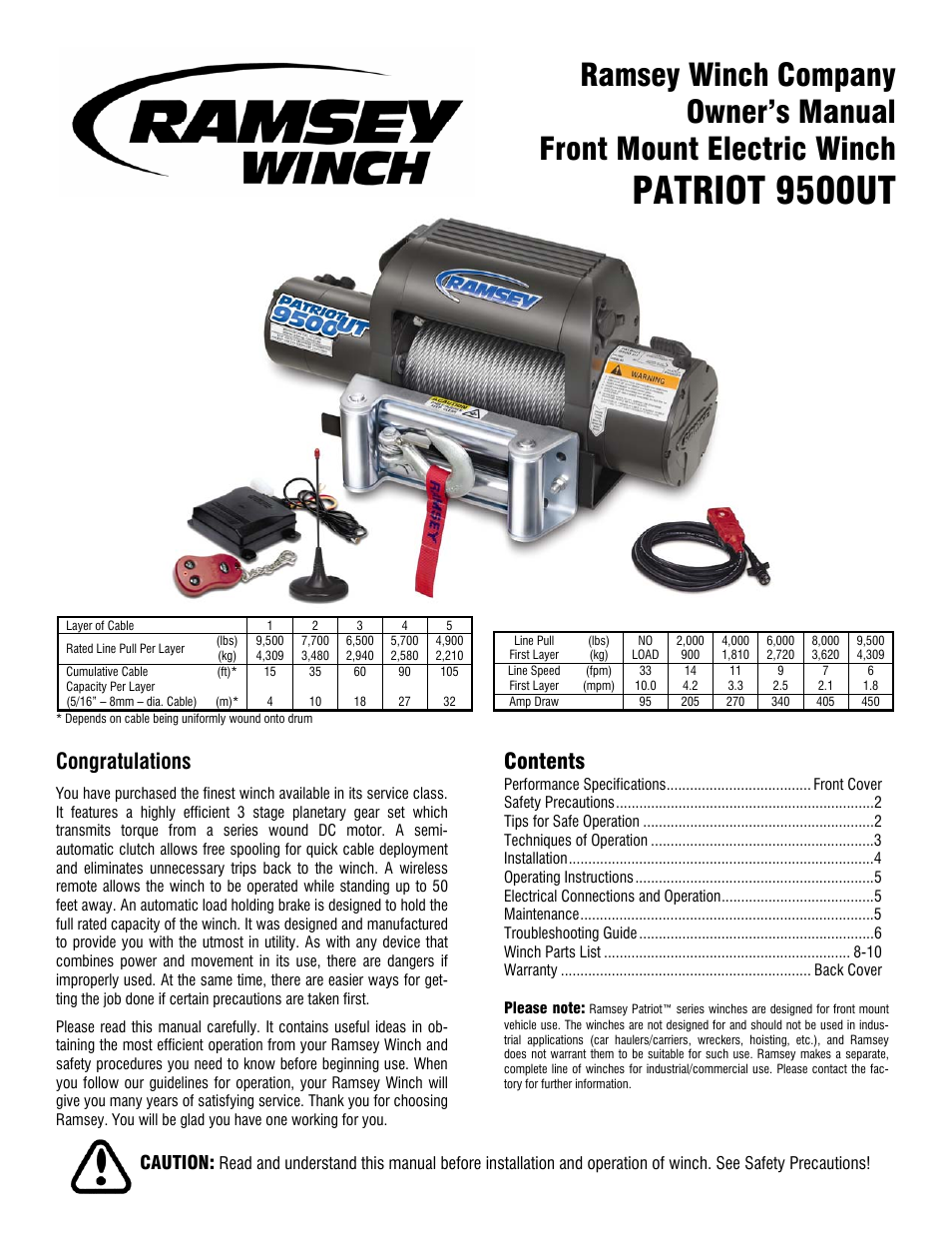 Ramsey Winch Patriot 9500 Ut User Manual 12 Pages Wiring Schematic Diagram Guide