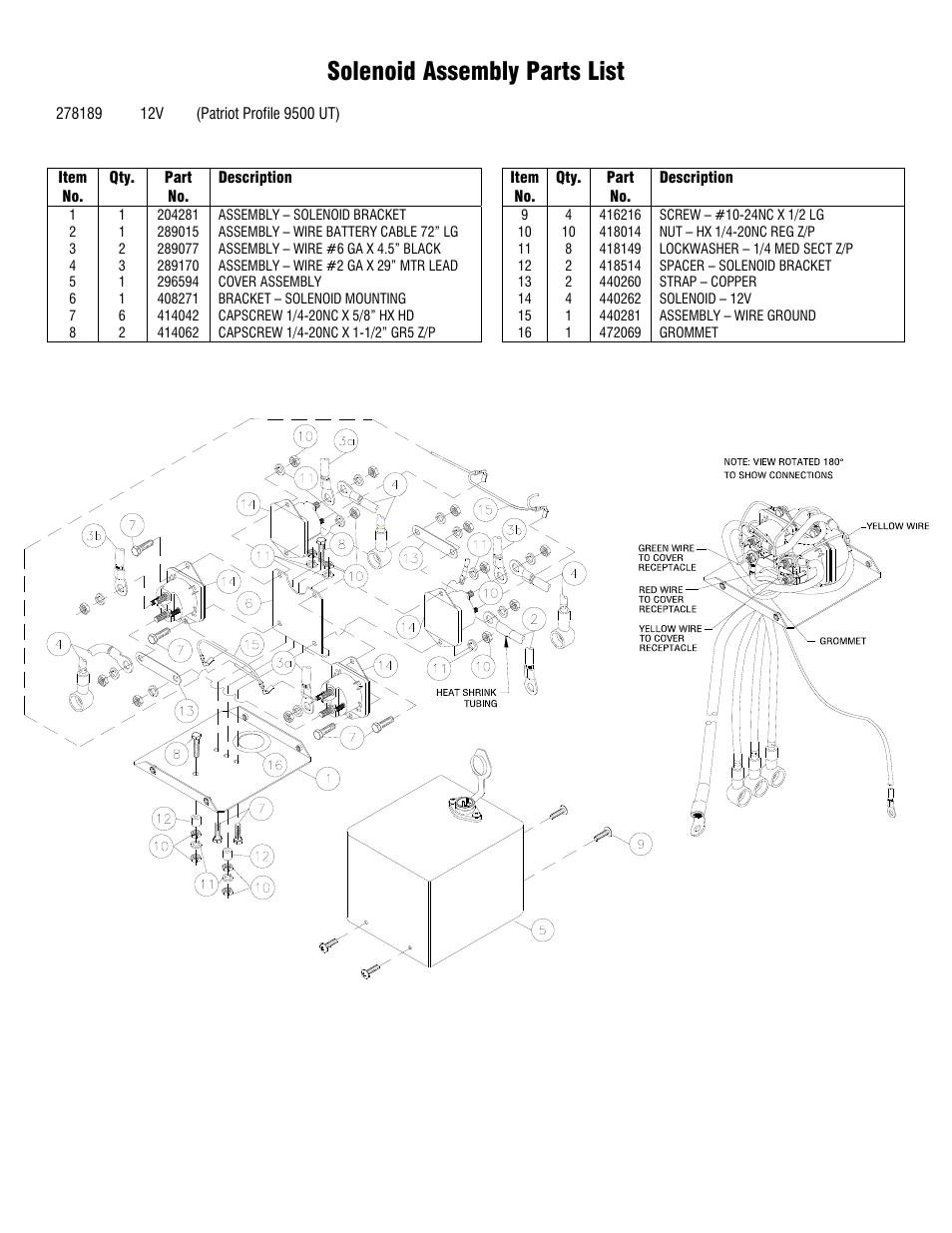 solenoid assembly parts list