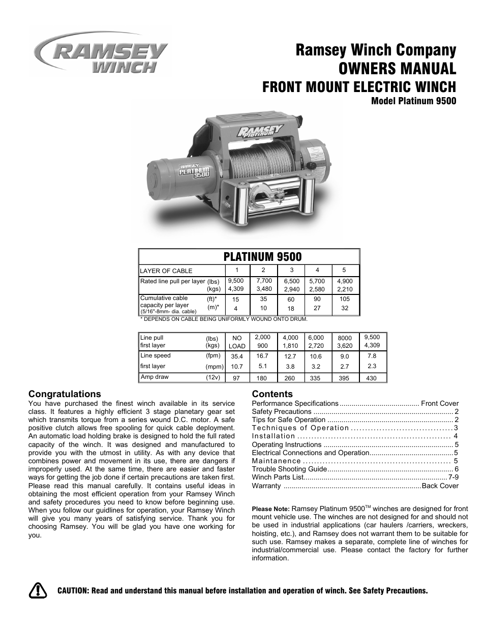 Ramsey Winch PLAT-9500 User Manual | 12 pages on
