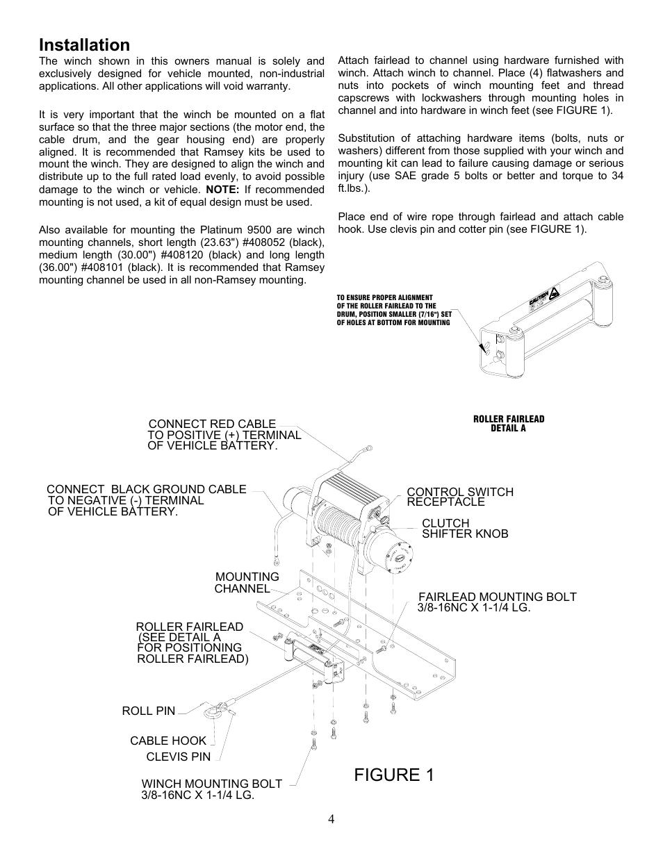 Figure 1, Installation | Ramsey Winch PLAT-9500 User Manual ... on