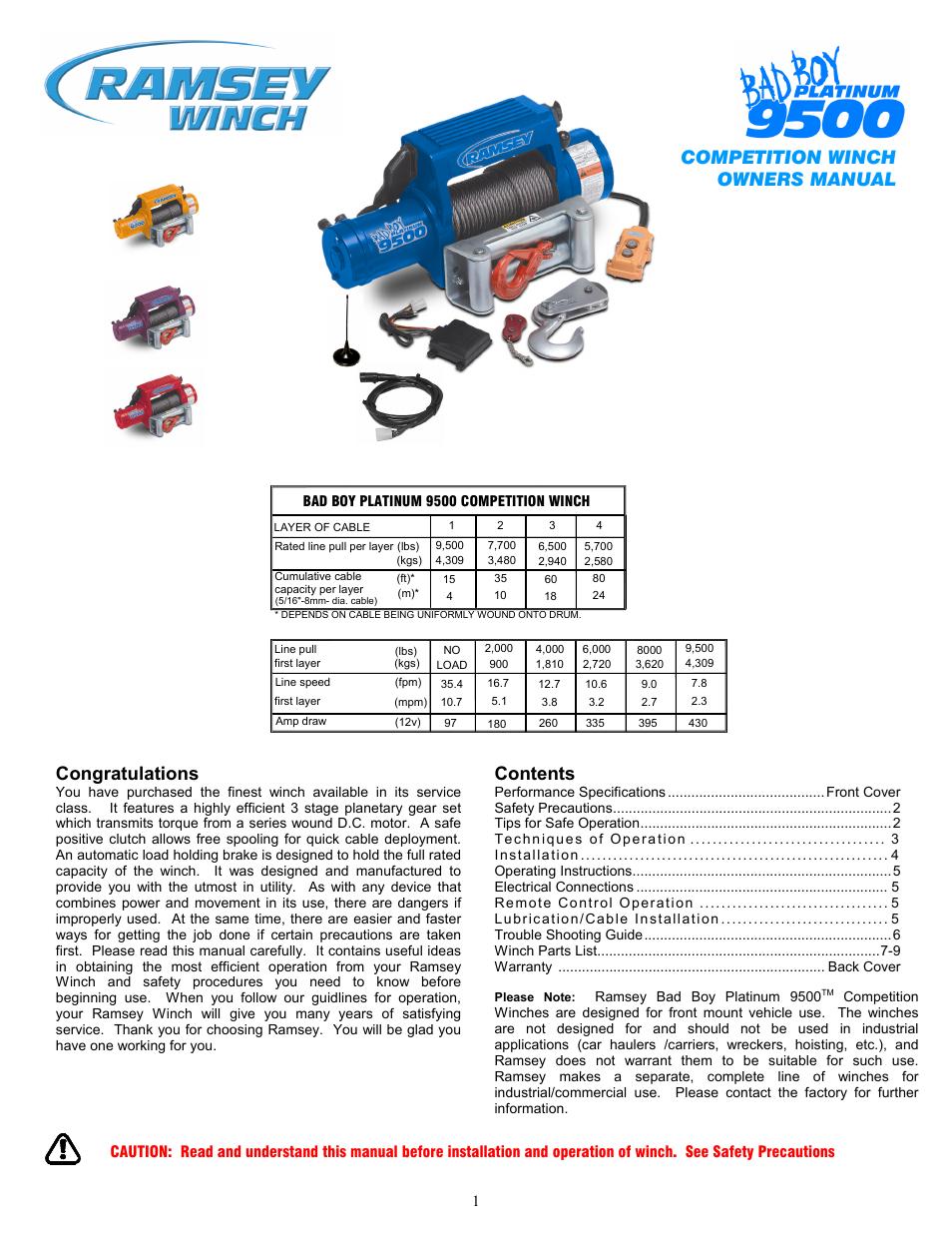 ramsey winch plat 9500 bad boy user manual 12 pages rh manualsdir com