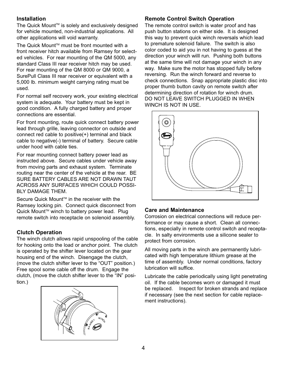 Ramsey Winch QM-5000_QM-8000_QM-9000 User Manual | Page 4 / 12 on