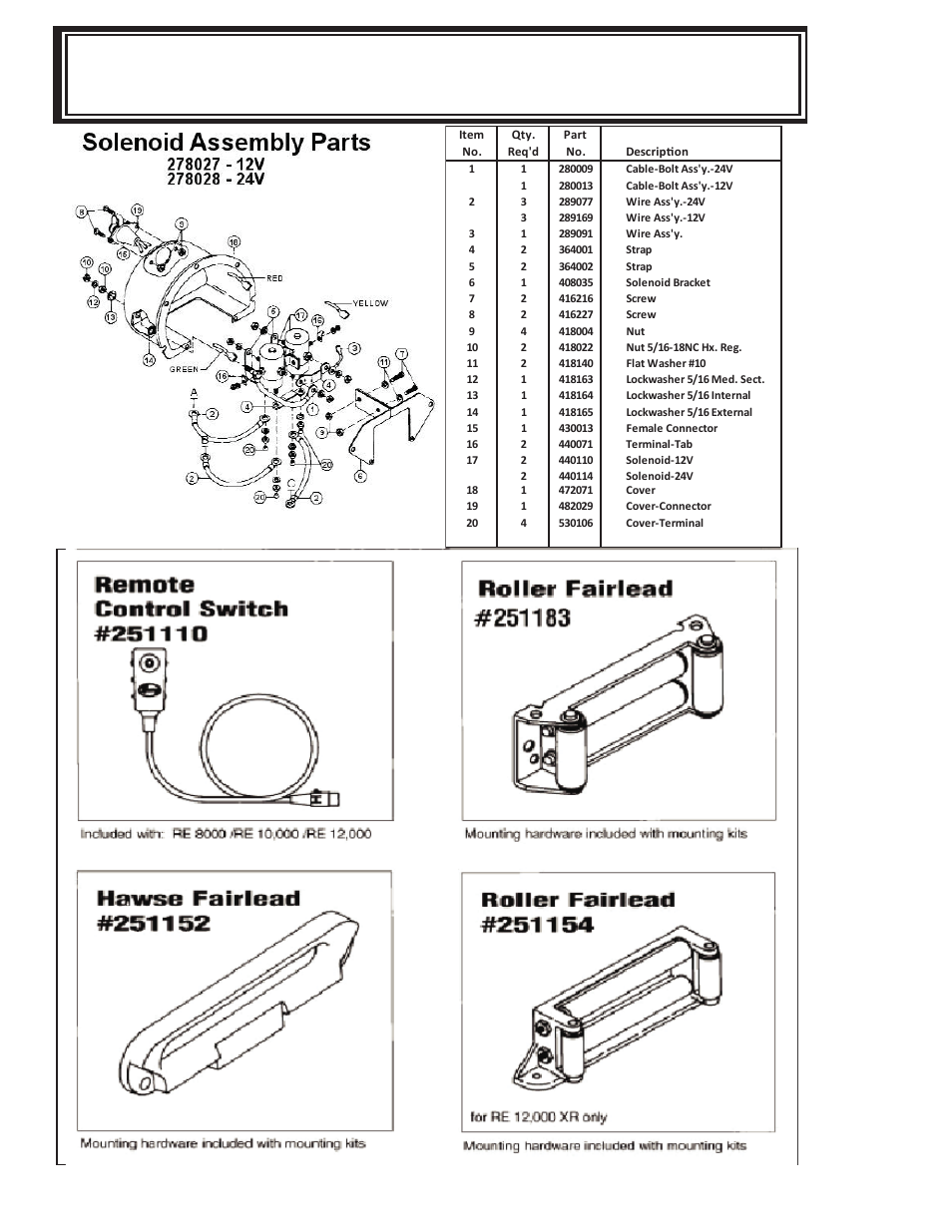 Ramsey Re 12000 Winch Solenoid Diagram Electrical Wiring Diagrams Assembly And Parts List 8000 10000 Jeep