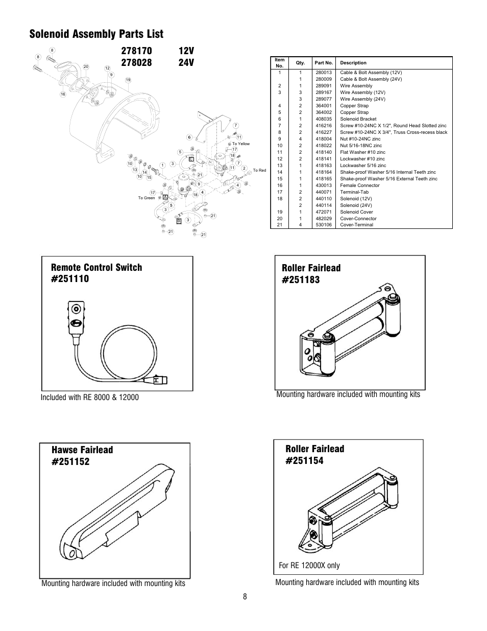 Solenoid Assembly Parts List  Mounting Hardware Included