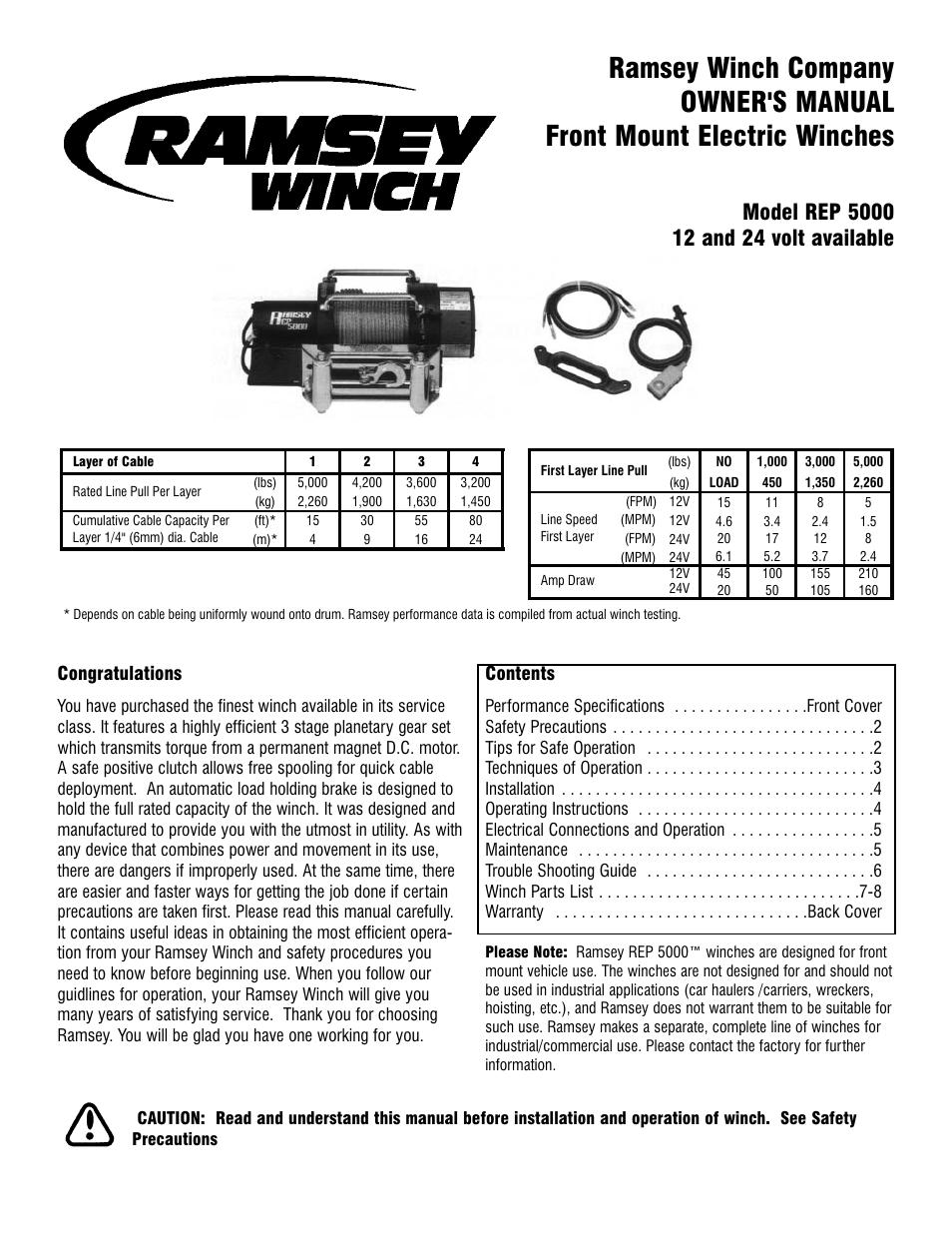 Ramsey 5000 Winch Parts Diagram Smart Wiring Diagrams 8000 Rep User Manual 12 Pages Rh Manualsdir Com Solenoid Old