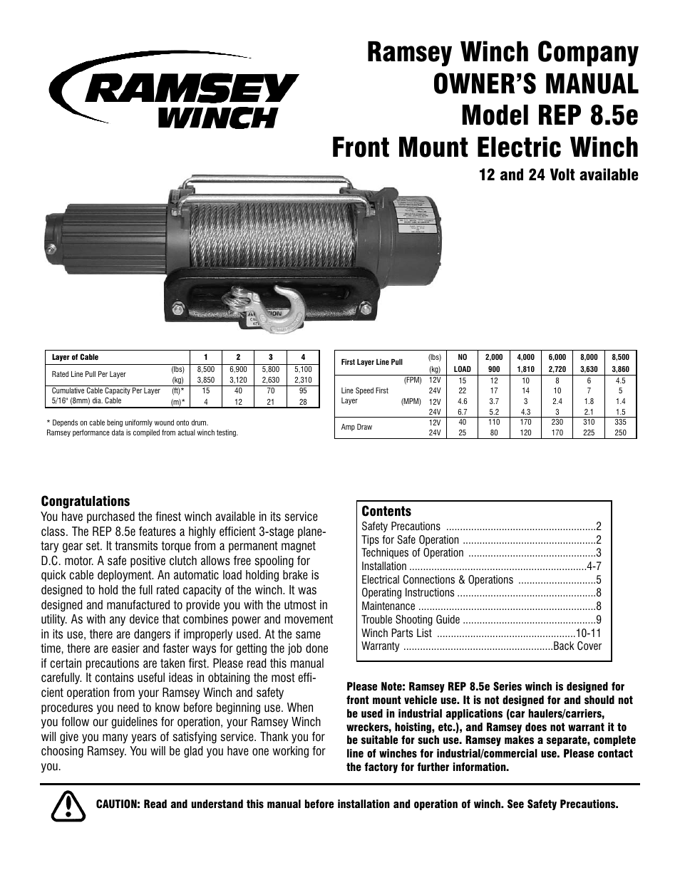 ramsey-winch-rep-85e-page1 Ramsey Pro Winch Wiring Diagram on dia for rep 5000,
