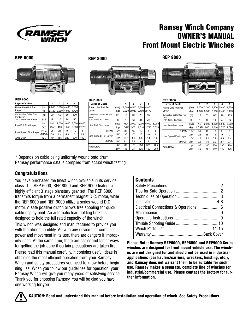 Ramsey       Winch    REP6000   8000   9000 CURRENT User Manual   16 pages