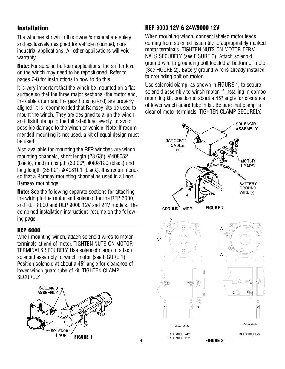 Installation | Ramsey Winch REP-6000/8000/9000 CURRENT User Manual | Page 4  / 16