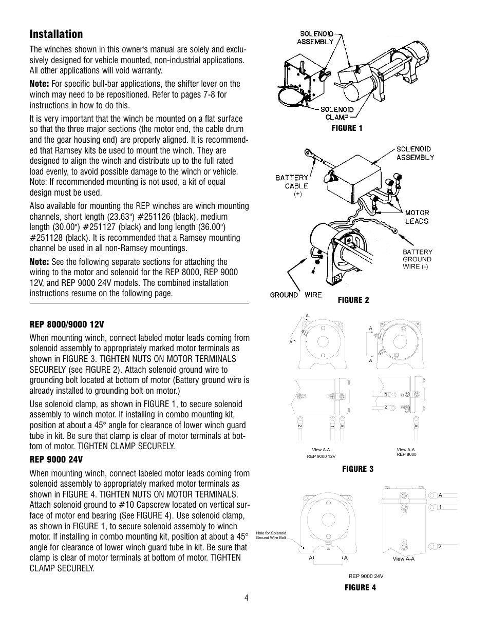 Ramsey Rep 8000 Winch Wiring Simple Diagram 12000 Installation 9000 User Manual Page 6 58 Parts 013998