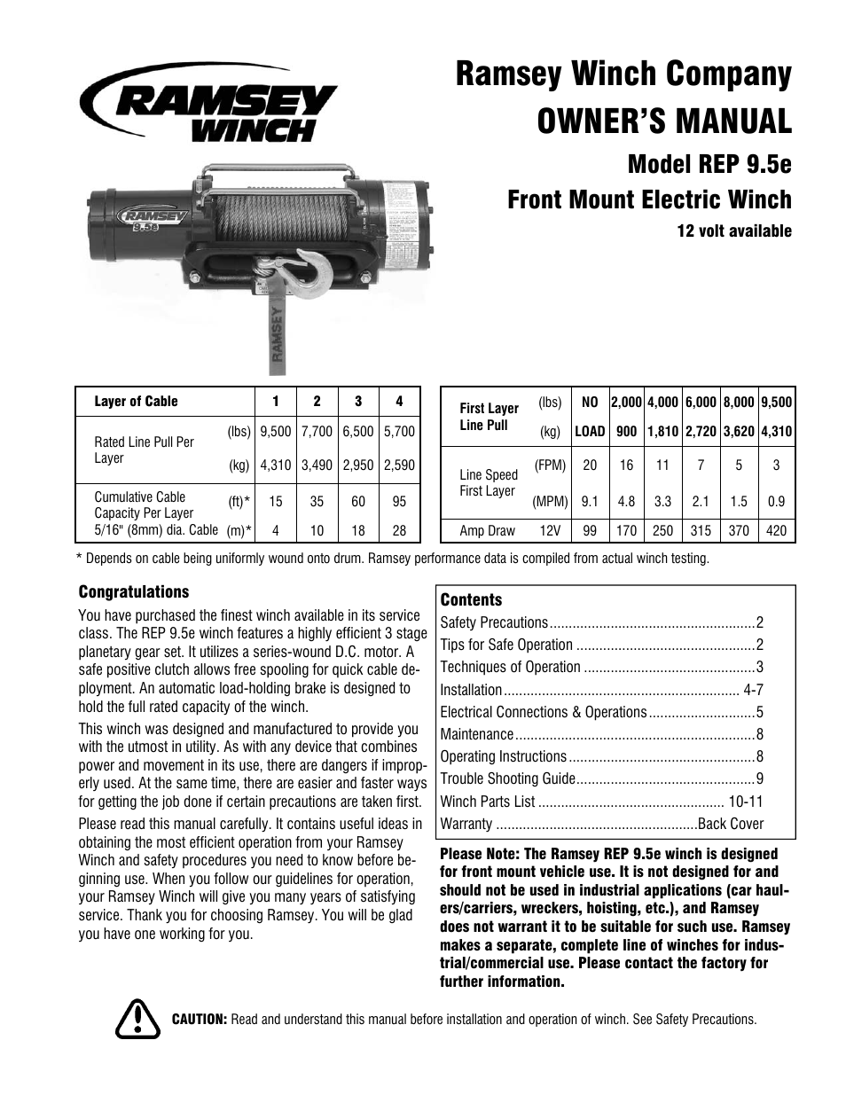 Ramsey Winch REP-9.5e User Manual | 12 pages on