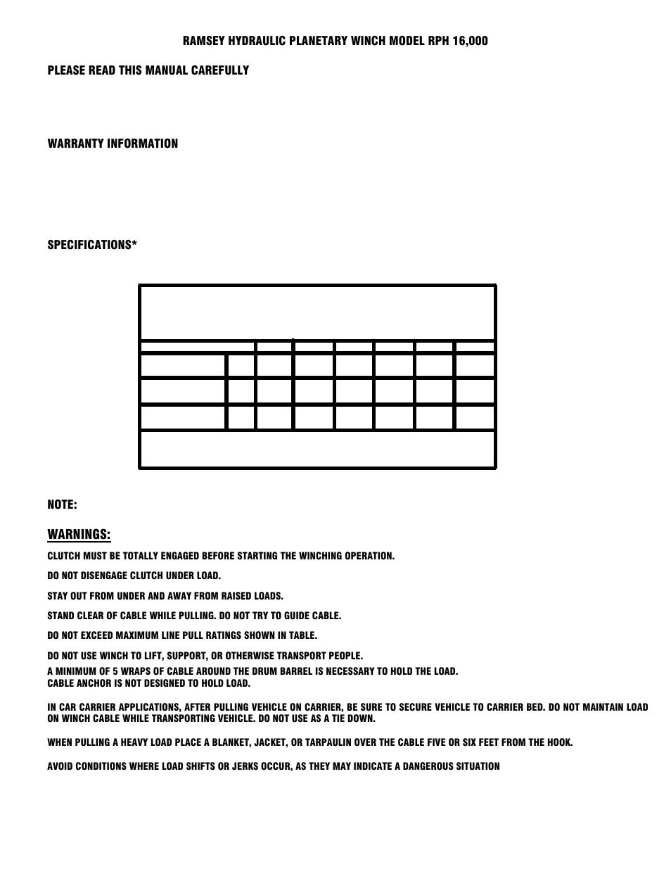 Warnings | Ramsey Winch RPH-16000 User Manual | Page 3 / 20