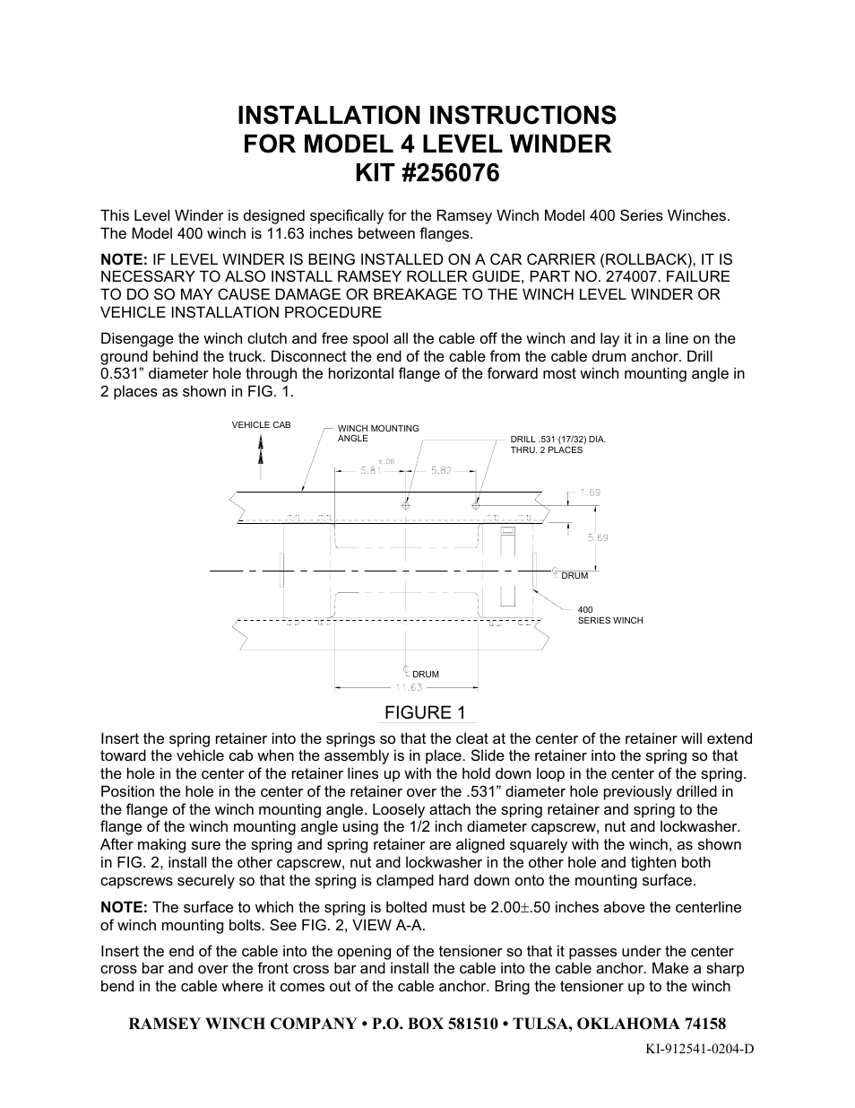 Ramsey Winch Level Winder 4 256076 User Manual 2 Pages