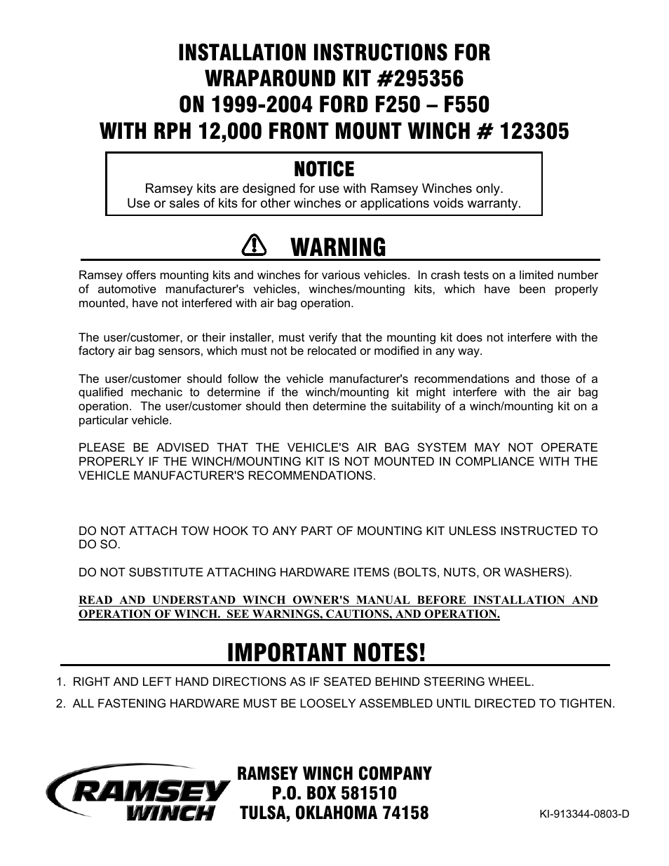 Ramsey Winch FORD WRAPAROUND KIT 295356 (RPH 12000) User Manual | 7 pages