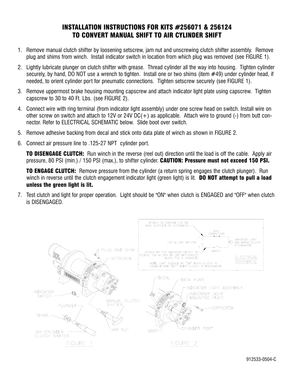 Ramsey Winch Man Shift To Air Conversion Kit 256071 256124 Cylinder Schematic User Manual 1 Page